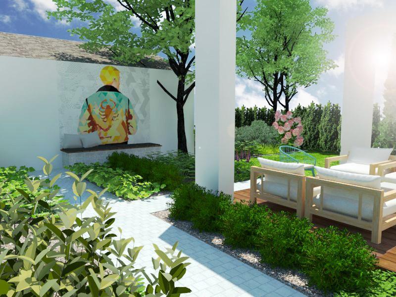 Wizualizacja ogrodu w zabudowie szeregowej