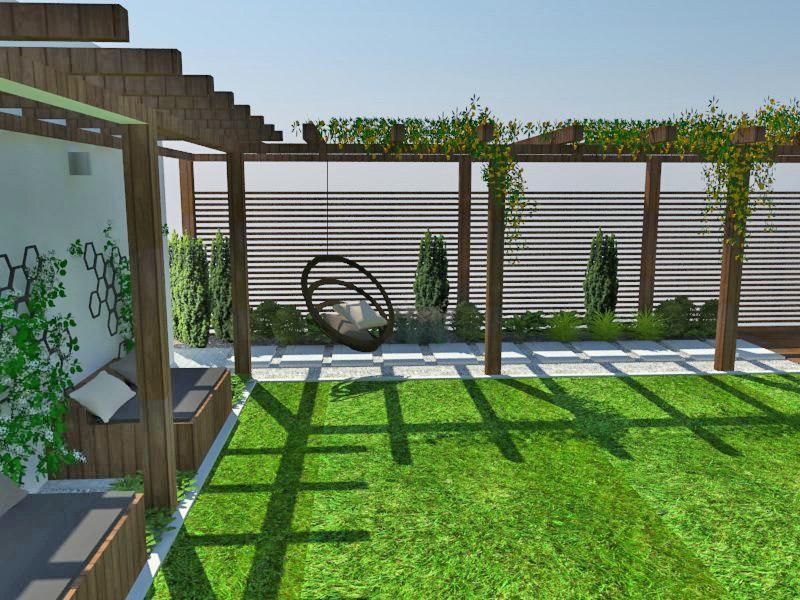 Wizualizacja projektu ogrodu na wąskiej działce