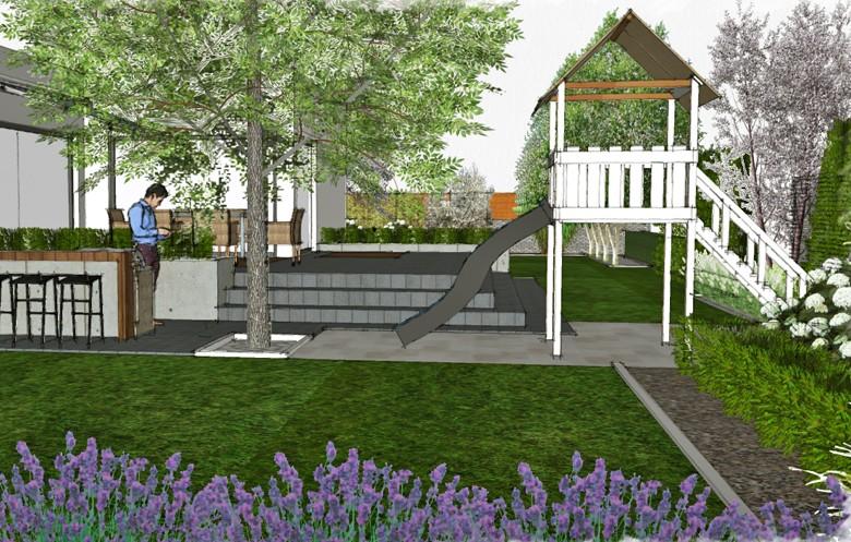 Wizualizacja ogrodu z miejscem na grilla