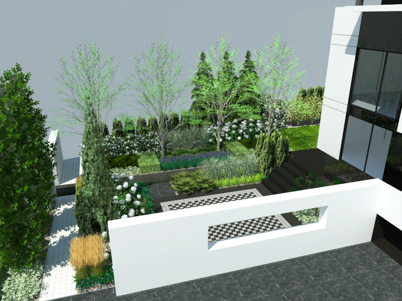 Wizualizacja ogrodu z tarasem od frontu
