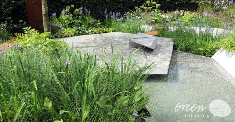 Widok na element wodny w ogrodzie