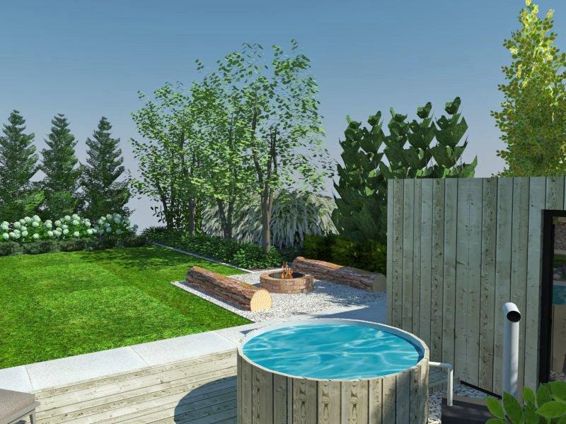 Wizualizacja ogrodu z sauną