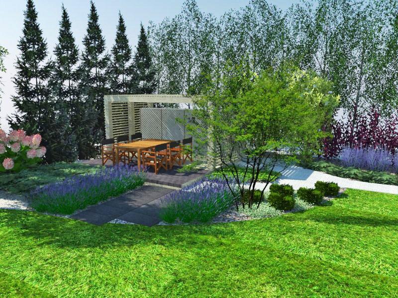 Wizualizacja ogrodu z altaną